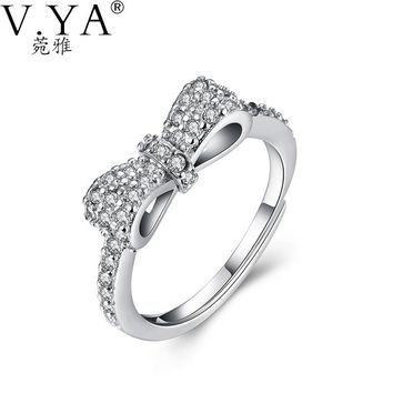 100% 925 Sterling Silver Ring Bow AAA Crystal S925 Solid Silver Rings for Women Jewelry VYA 925-sterling-silver-ring R26