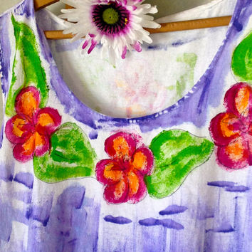 Hand Painted Sun Dress - Hand Painted Dress - Beach Dress - Cover Up - Plus Sizes - Kauai Hawaii Dress