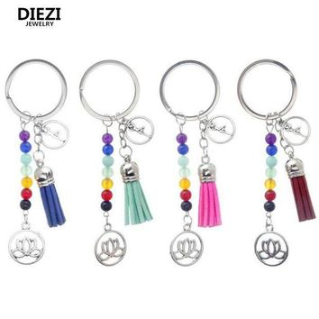 PEAP78W 2017 New Gift Cute Fashion Cute Mixed Healing Crystals Stone Chakra Pray Keychain Car Key Chain Ring Pendant For Bag