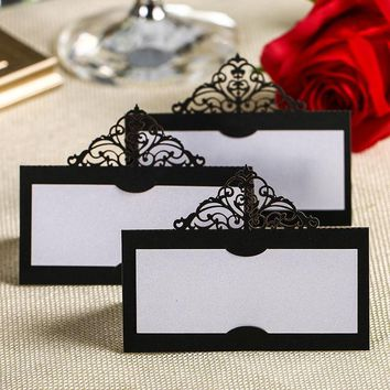 New Wedding Card 50Pcs Crown pearl paper Place Cards Birthday Party Table Centerpieces Decoration Craft Festive Events Supplies