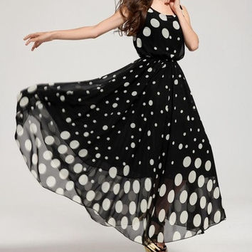 New Fashion Women Maxi Boho Long Evening Dress Black Cocktail Polka Dot sundress = 1705244484