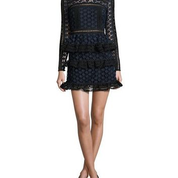 Self-Portrait Star Lace-Paneled Mini Dress