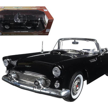 "1956 Ford Thunderbird Black ""Timeless Classics"" 1-18 Diecast Model Car by Motormax"