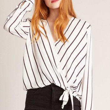 Women's BB Dakota Friday Night Stripes Crossover Blouse