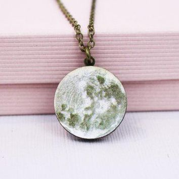 Moon Necklace Gold Wooden Laser Cut Space Galaxy