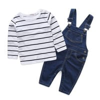 HOT 2016 Children striped  Baby  Boys clothes set  kids Clothing suit t shirt+Pants  2Pcs/set baby boys Denim overalls70-100