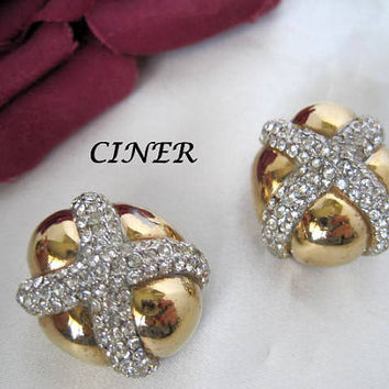 Rhinestone Earrings - Signed Ciner - Pave X Design Clip Ons