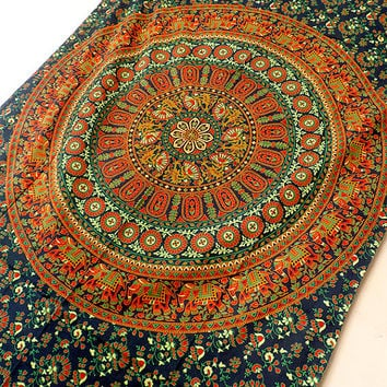 TWIN indian cotton elephant mandala hippie tapestry wall hanging bedspread bohemian boho bedding throw ethnic mandala wall decorative art