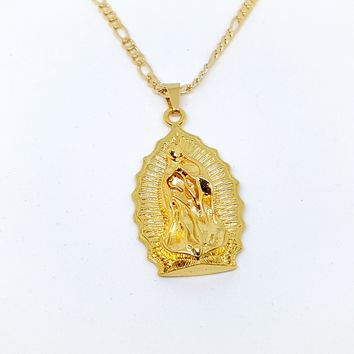 """1-2416-1957-f11 18kt Brazilian Gold Layered Guadalupe Chain Necklace. Pendant 2 inches long. 24"""" Figaro Chain, 3.5mm."""