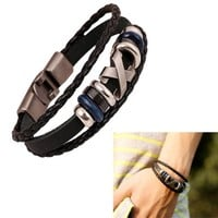 Leather Infinity Charm Wrap Bracelet