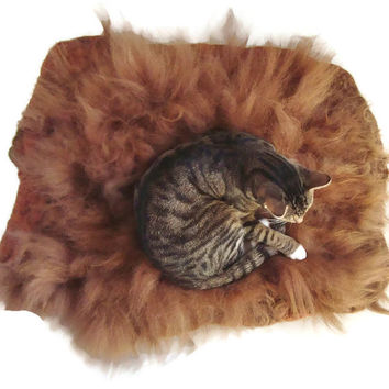 Llama Wool Cat Bed Cruelty Free Felted Fleece Pet Rug - Golden Brown - Supporting Small US Farms