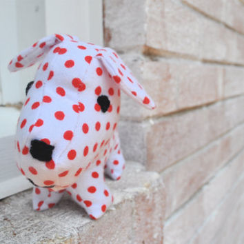 Plush Dog Red and White Tilly by RopeSwingStudio on Etsy