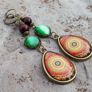 Mandala Glass Teardrop Pendant Earrings - Artisan Earrings - Bohemian - Cats Eye Earrings - Orange