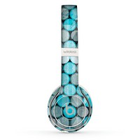 The Vintage Scratched Blue & Graytone Polka Skin Set for the Beats by Dre Solo 2 Wireless Headphones