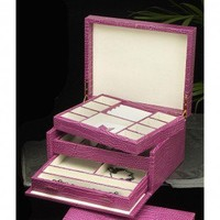 Bey-Berk Multi-level Jewelry Box in Pink Leather - BB584PNK