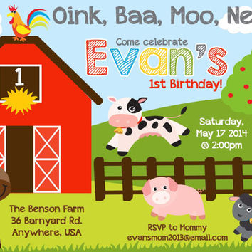 Farm Animal Barnyard Birthday Invitation Invite - PRINTABLE digital 4x6 5x7 Barnyard Bash Farm Party First Birthday Boy Party Invitation