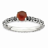 Sterling Silver Antiqued Red Agate Ring