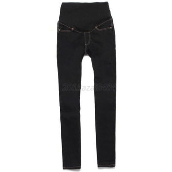 Hot Pregnant Women Elastic Jeans Pencil Pants Maternity Trousers S01