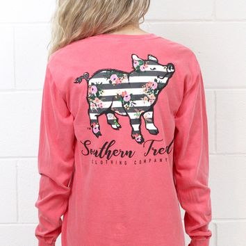 Floral Striped Proud Pig Long Sleeve {Watermelon}