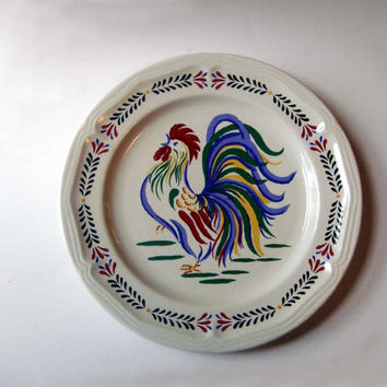 Vintage Sunrise Rooster Dinner Plate by Century Stoneware Country Kitchen Farmhouse
