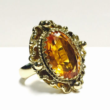 Vintage Whiting & Davis Citrine Orange Gemstone Gold Ring Adjustable Ring Size 7 Signed Whiting and Davis