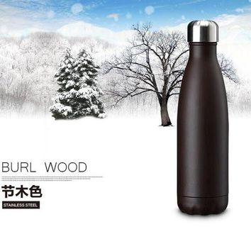 Family Friends party Board game 500ml Bowling Sports Kettle Wood Grain Vacuum Cup Drink Water Bottle Stainless Steel Fashion Travel Bottle Bullet Vacuum Flask AT_41_3
