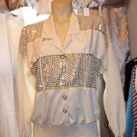 Gold Sequin & Cream LS button up sz 8 jamboree grandma shiny metallic puff top blouse
