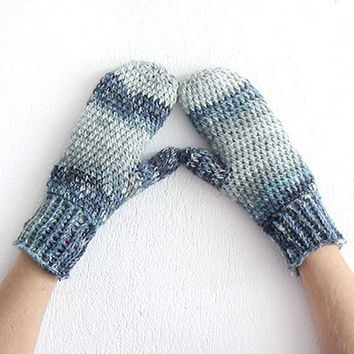 Crochet mittens gloves with one finger, Convertible Mittens, Grey Crochet gloves mittens, Wool mittens, Winter gloves, Warm glove Gift idea