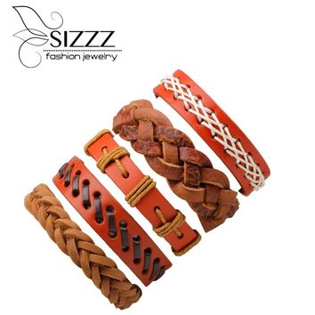 SIZZZ Hot burst models supply diy combination leather wax rope braided bracelet&bangles for men