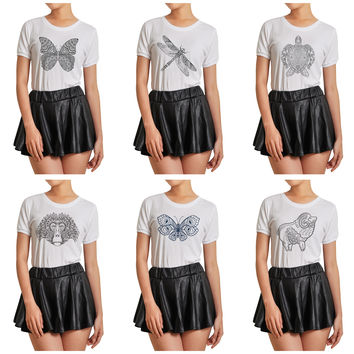 Women Animals drawing in black- white Printed T-shirt WTS_07