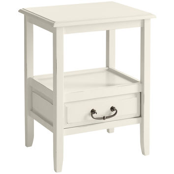 Anywhere Antique White End Table with Pull Handles
