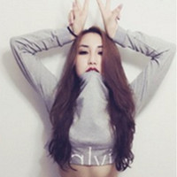 """Calvin Klein"" Round-neck Tops Crop Top Long Sleeve Sweater T-shirt"