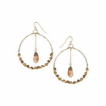 Facet and Chain Drop Earrings - Peach
