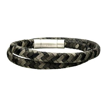 Black & Gray Braided Leather Men's Double Wrap Bracelet 8""