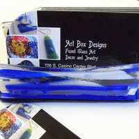 Blue Water Fused Glass  Business Card Holder
