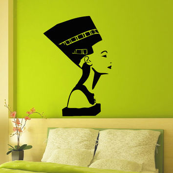 Wall Decal Vinyl Sticker Ancient Egyptian Symbol Queen Nefertiti Interior Design Wall Art Bedroom Living Room Girls Wall Home Decor Z822
