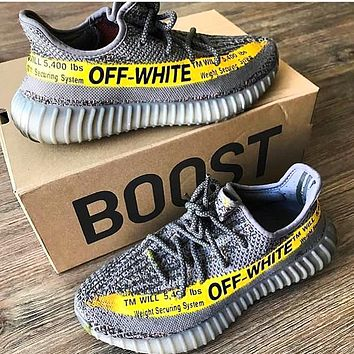 ADIDAS x Off White Yeezy Boost 350 V2 Woman Men Fashion Sport Sneakers Shoes Grey letters yellow