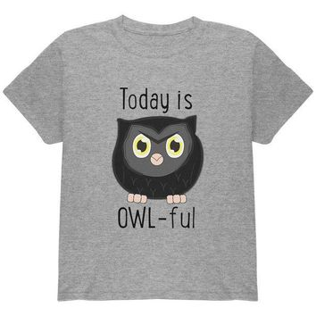 CREYCY8 Owl Today Is Owful Awful Funny Pun Youth T Shirt