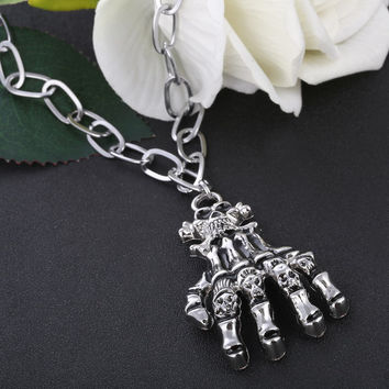 2016 Long Necklace Vintage Punk Rock Chain Necklaces Man Skull Hand Stainless Steel Pendants Necklace Charms Man accessories