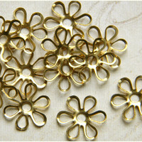 Raw Brass Daisy Flower Filigree Stamping Embellishment 14mm - 6 pcs.