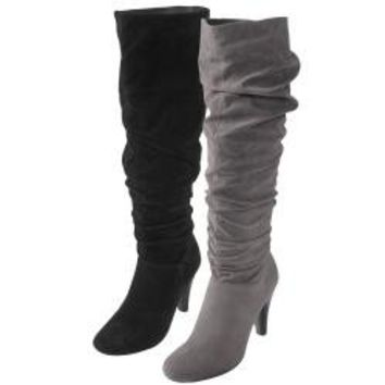Journee Collection Women's 'SLC-08' Slouchy Heeled Boots | Overstock.com