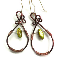 Fine Frenzy: Copper wire earrings, brown, green shell bead, long, dangle, wire wrapped red