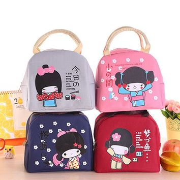 Kawaii Japanese Girl Canvas Bento Lunch Boxes Large Bag Portable Insulation Food Bag Thickening w