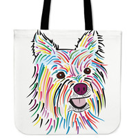 Colorful Yorkshire Terrier Tote Bag