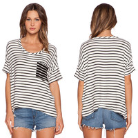 Striped Single Pocket Short Sleeve T-Shirt