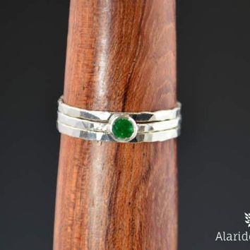 Dainty Silver Natural Emerald Ring