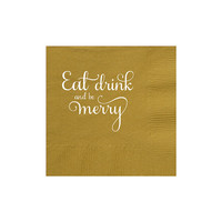 Christmas Napkins Set of 150 - Eat Drink and be Merry Cocktail Napkin - Red Green Gold or Silver Party Favors - Personalized or Custom Gift