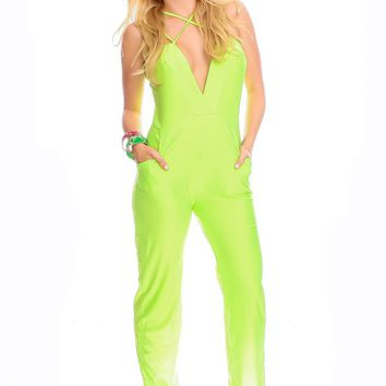 NEON LIME CROSS CHEST DESIGN FRONT POCKETS JUMPSUIT