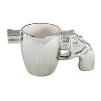 7 Inch Revolver Handgun Coffee Mug with Gun Metal Finish