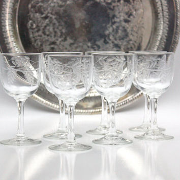 Vintage Clear Crystal Cordials / Wisteria Pattern / Set of 7 Glasses / RARE
